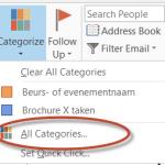 Menu categoriecodes